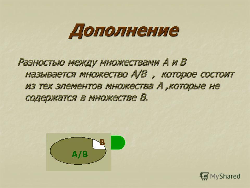 Дополнение Разностью между множествами А и В называется множество А/В, которое состоит из тех элементов множества А,которые не содержатся в множестве В. Разностью между множествами А и В называется множество А/В, которое состоит из тех элементов множ