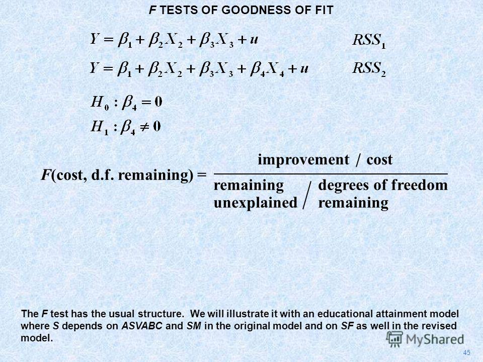 F TESTS OF GOODNESS OF FIT 45 The F test has the usual structure. We will illustrate it with an educational attainment model where S depends on ASVABC and SM in the original model and on SF as well in the revised model. F(cost, d.f. remaining) = impr