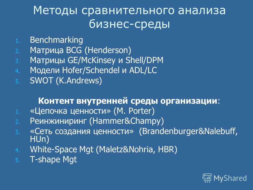 Методы сравнительного анализа бизнес-среды 1. 1. Benchmarking 2. 2. Матрица BCG (Henderson) 3. 3. Матрицы GE/McKinsey и Shell/DPM 4. 4. Модели Hofer/Schendel и ADL/LC 5. 5. SWOT (K.Andrews) Контент внутренней среды организации: 1. 1. «Цепочка ценност