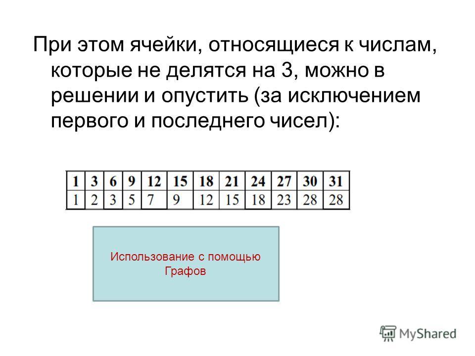 При этом ячейки, относящиеся к числам, которые не делятся на 3, можно в решении и опустить (за исключением первого и последнего чисел): Использование с помощью Графов