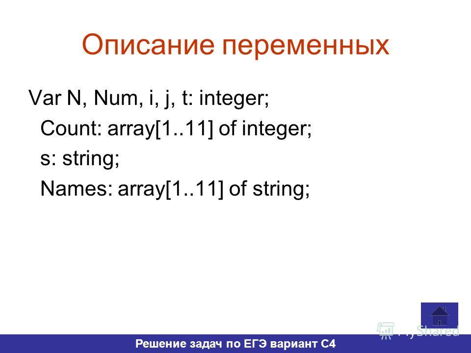 Описание переменных Var N, Num, i, j, t: integer; Count: array[1..11] of integer; s: string; Names: array[1..11] of string; Решение задач по ЕГЭ вариант С4
