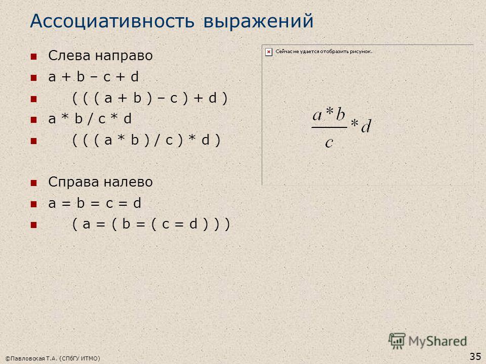 ©Павловская Т.А. (СПбГУ ИТМО) 35 Ассоциативность выражений Слева направо a + b – c + d ( ( ( a + b ) – c ) + d ) a * b / c * d ( ( ( a * b ) / c ) * d ) Справа налево a = b = c = d ( a = ( b = ( c = d ) ) )
