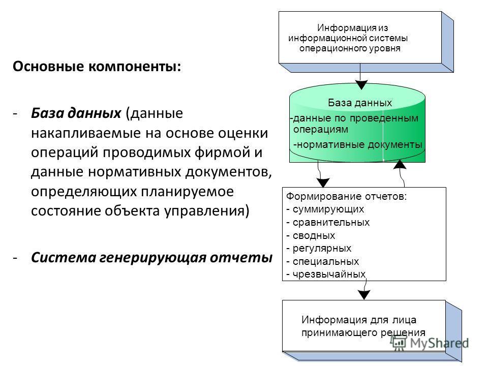 Основные компоненты: -База данных (данные накапливаемые на основе оценки операций проводимых фирмой и данные нормативных документов, определяющих планируемое состояние объекта управления) -Система генерирующая отчеты