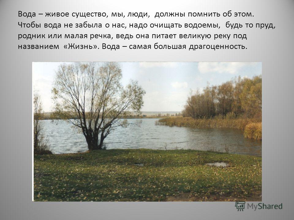 Вода – живое существо, мы, люди, должны помнить об этом. Чтобы вода не забыла о нас, надо очищать водоемы, будь то пруд, родник или малая речка, ведь она питает великую реку под названием «Жизнь». Вода – самая большая драгоценность.