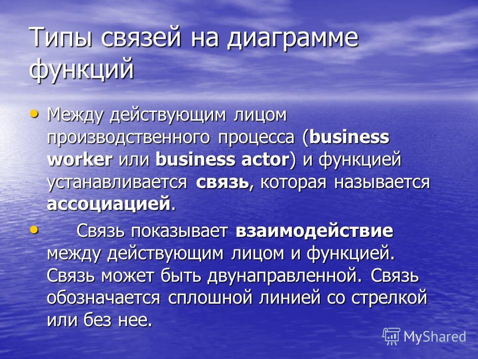 Типы связей на диаграмме функций Между действующим лицом производственного процесса (business worker или business actor) и функцией устанавливается связь, которая называется ассоциацией. Между действующим лицом производственного процесса (business wo
