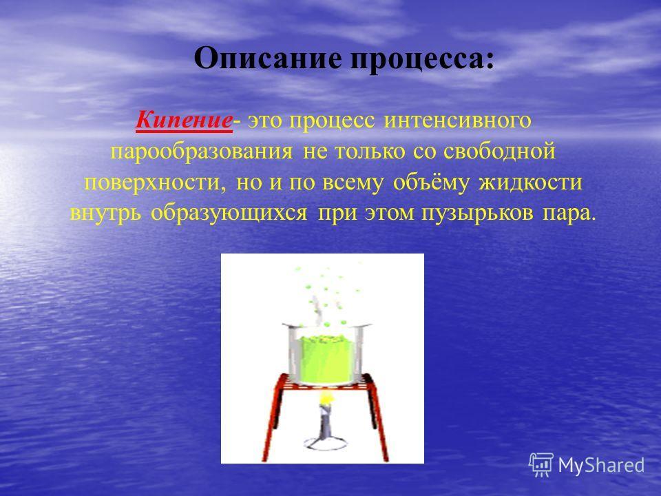 Описание процесса: Кипение- это процесс интенсивного парообразования не только со свободной поверхности, но и по всему объёму жидкости внутрь образующихся при этом пузырьков пара.