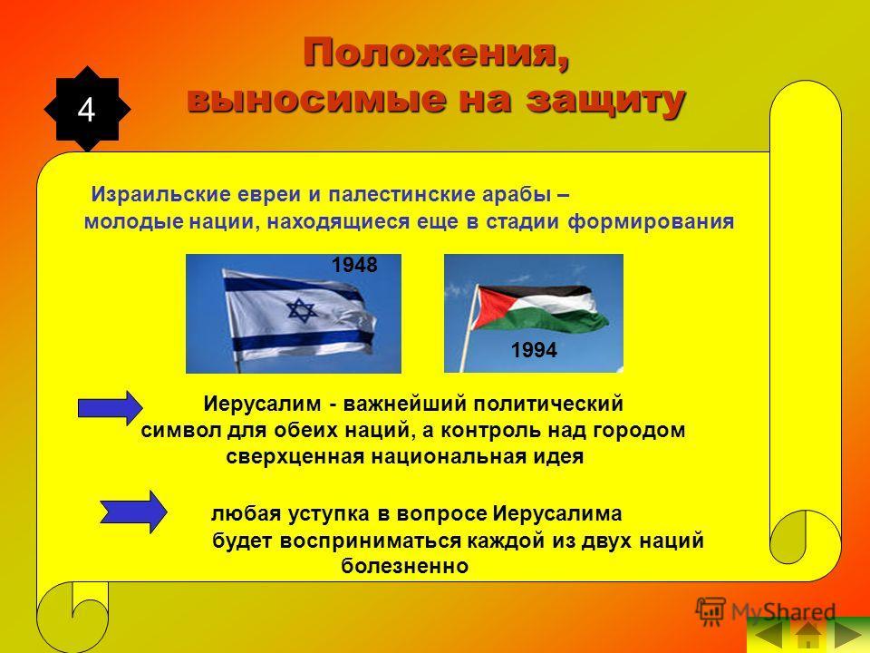 4 Положения, выносимые на защиту Израильские евреи и палестинские арабы – молодые нации, находящиеся еще в стадии формирования Иерусалим - важнейший политический символ для обеих наций, а контроль над городом сверхценная национальная идея любая уступ