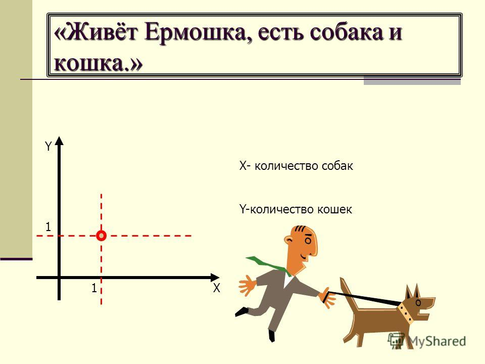 «Живёт Ермошка, есть собака и кошка.» 1 1 Х- количество собак Y-количество кошек Y X
