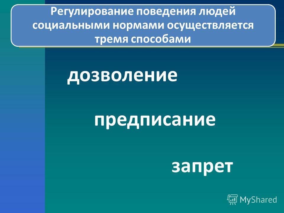 Регулирование поведения людей социальными нормами осуществляется тремя способами дозволение предписание запрет
