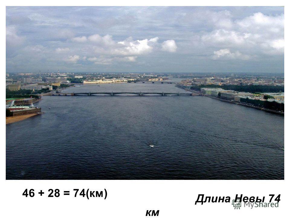 Длина Невы 74 км 46 + 28 = 74(км)