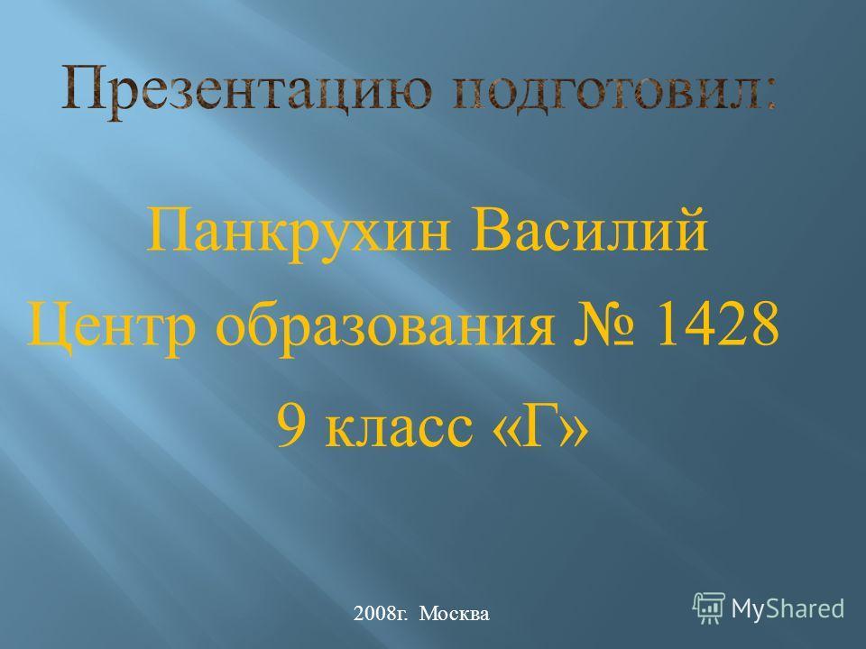 Панкрухин Василий Центр образования 1428 9 класс «Г» 2008г. Москва