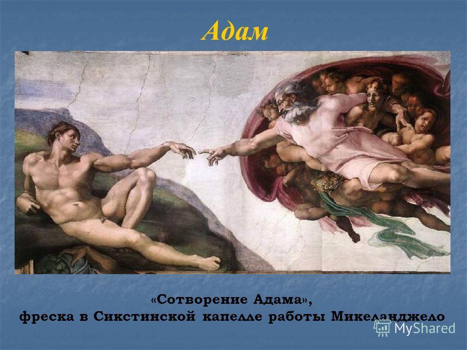 Адам «Сотворение Адама», фреска в Сикстинской капелле работы Микеланджело