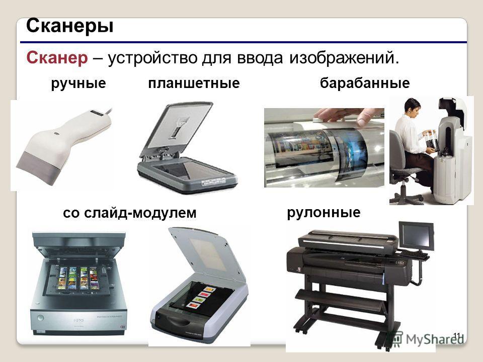 11 Сканеры со слайд-модулем Сканер – устройство для ввода изображений. барабанныепланшетные рулонные ручные