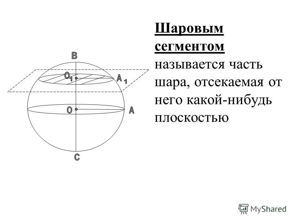 Шаровым сегментом называется часть шара, отсекаемая от него какой-нибудь плоскостью