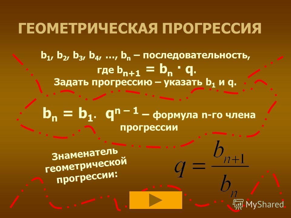 ГЕОМЕТРИЧЕСКАЯ ПРОГРЕССИЯ b 1, b 2, b 3, b 4, …, b n – последовательность, где b n+1 = b n · q. Задать прогрессию – указать b 1 и q. b n = b 1· q n – 1 – формула n-го члена прогрессии Знаменатель геометрической прогрессии: