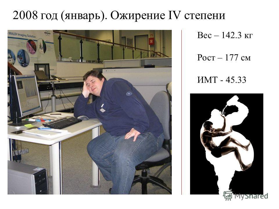 Вес – 142.3 кг Рост – 177 см ИМТ - 45.33 2008 год (январь). Ожирение IV степени