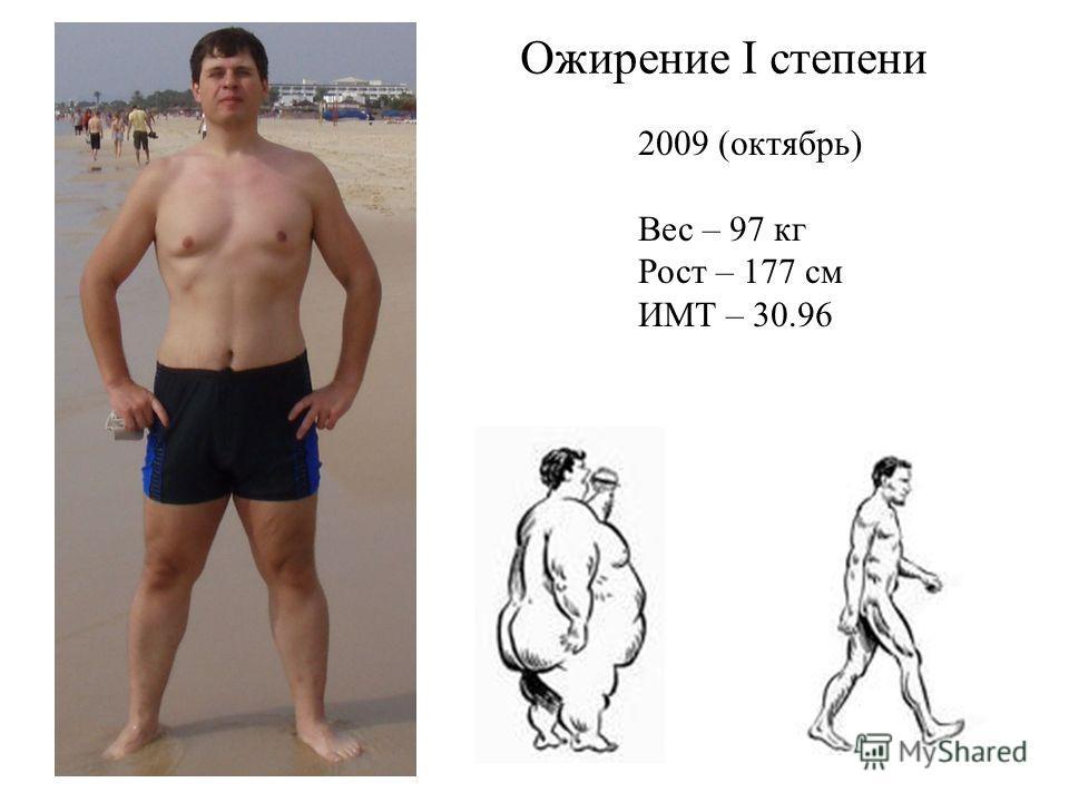 2009 (октябрь) Вес – 97 кг Рост – 177 см ИМТ – 30.96 Ожирение I степени