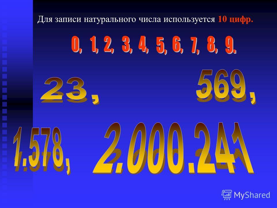 Для записи натурального числа используется 10 цифр.