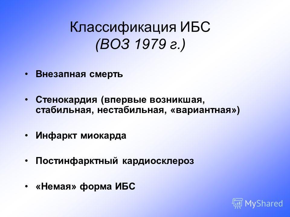 Классификация ИБС (ВОЗ 1979 г.) Внезапная смерть Стенокардия (впервые возникшая, стабильная, нестабильная, «вариантная») Инфаркт миокарда Постинфарктный кардиосклероз «Немая» форма ИБС