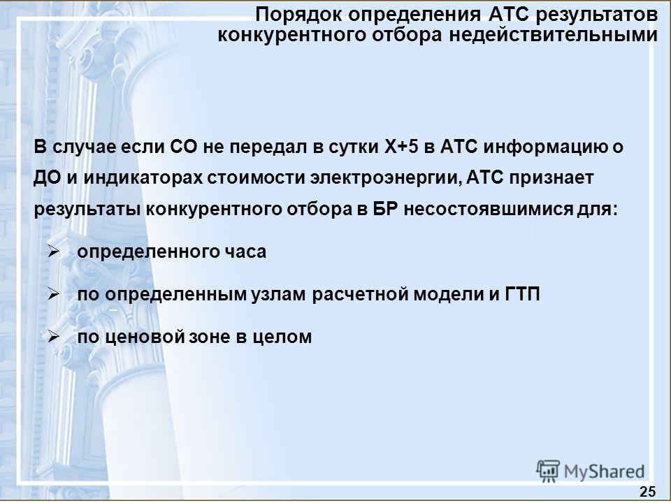 25 Порядок определения АТС результатов конкурентного отбора недействительными В случае если СО не передал в сутки Х+5 в АТС информацию о ДО и индикаторах стоимости электроэнергии, АТС признает результаты конкурентного отбора в БР несостоявшимися для: