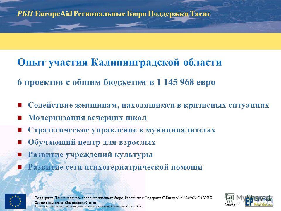 РБП EuropeAid Региональные Бюро Поддержки Тасис Слайд 15 Поддержка Национального координационного бюро, Российская Федерация EuropeAid 120963/C/SV/RU Проект финансируется Европейским Союзом Проект выполняется консорциумом во главе с компанией Europea