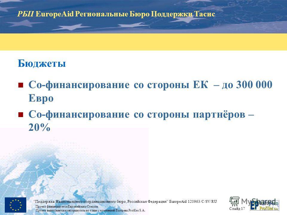 РБП EuropeAid Региональные Бюро Поддержки Тасис Слайд 17 Поддержка Национального координационного бюро, Российская Федерация EuropeAid 120963/C/SV/RU Проект финансируется Европейским Союзом Проект выполняется консорциумом во главе с компанией Europea