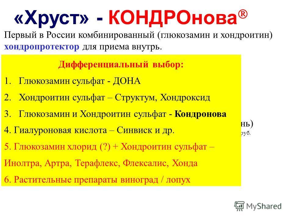 Первый в России комбинированный (глюкозамин и хондроитин) хондропротектор для приема внутрь. Показания остеоартроз крупных и мелких суставов I-III степени (включая межпозвонковый остеохондроз) Способ применения По 2 капсулы х 2 раза в день за 20 мин.