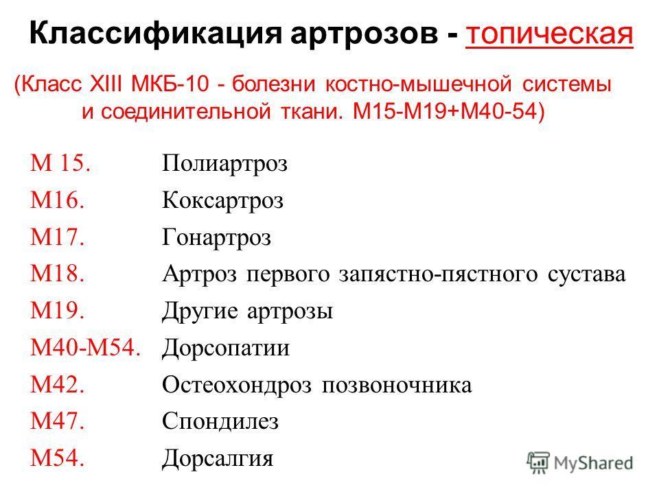 Классификация артрозов - топическая М 15. Полиартроз М16. Коксартроз М17. Гонартроз М18. Артроз первого запястно-пястного сустава М19. Другие артрозы М40-М54. Дорсопатии М42. Остеохондроз позвоночника М47. Спондилез М54. Дорсалгия (Класс XIII МКБ-10
