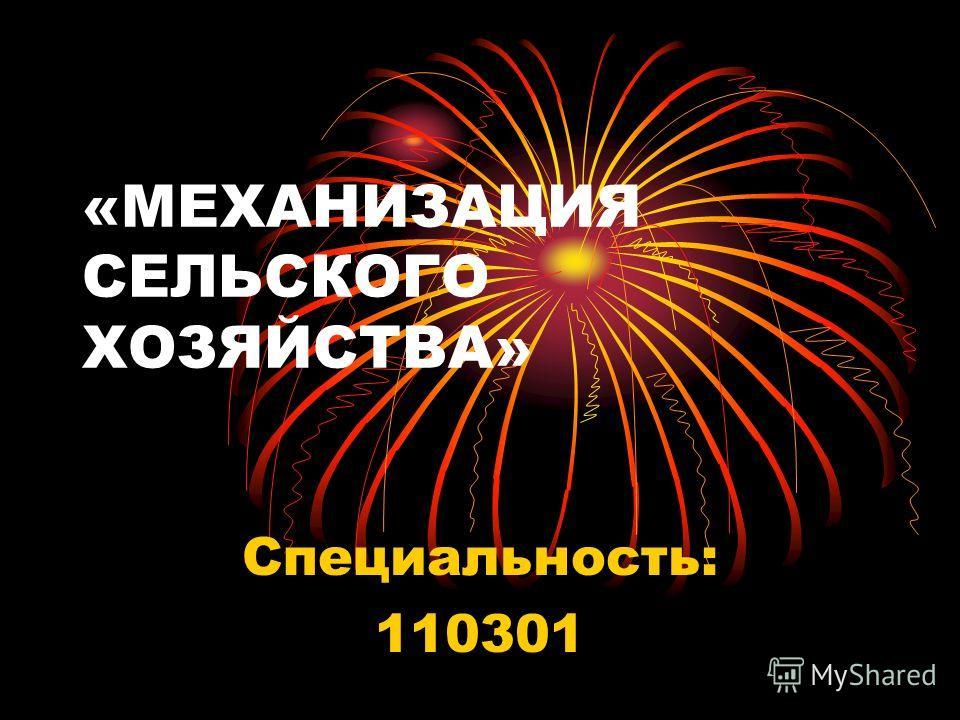 «МЕХАНИЗАЦИЯ СЕЛЬСКОГО ХОЗЯЙСТВА» Специальность: 110301