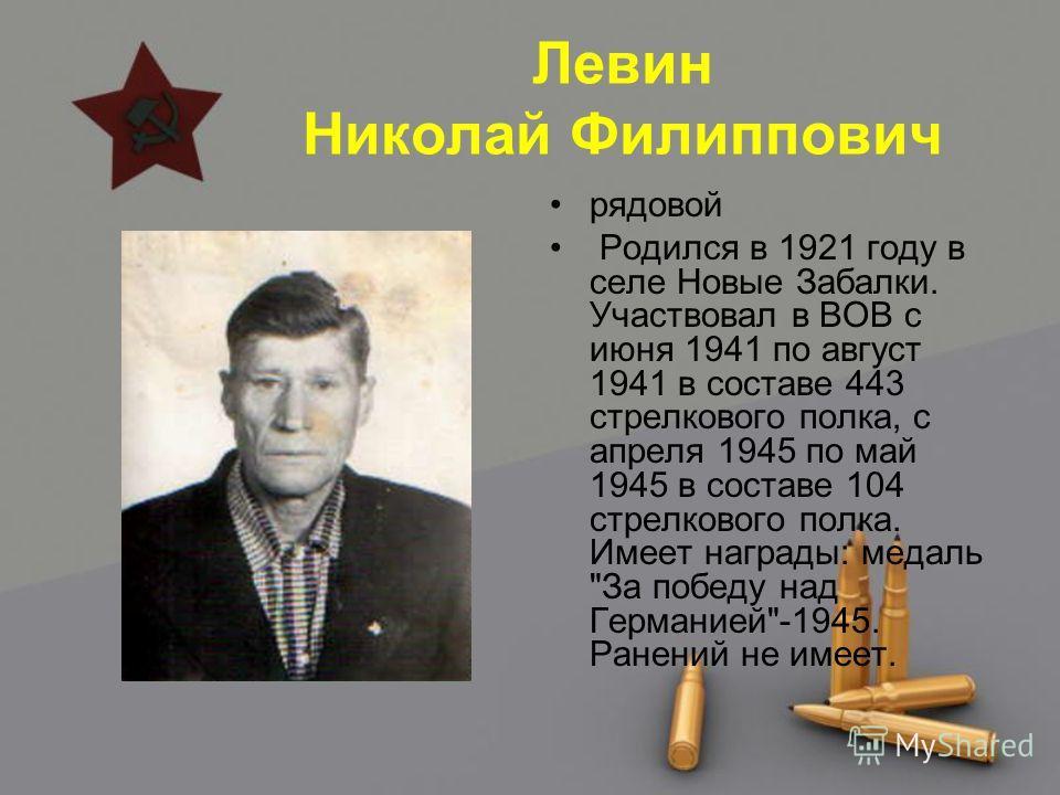 Левин Николай Филиппович рядовой Родился в 1921 году в селе Новые Забалки. Участвовал в ВОВ с июня 1941 по август 1941 в составе 443 стрелкового полка, с апреля 1945 по май 1945 в составе 104 стрелкового полка. Имеет награды: медаль