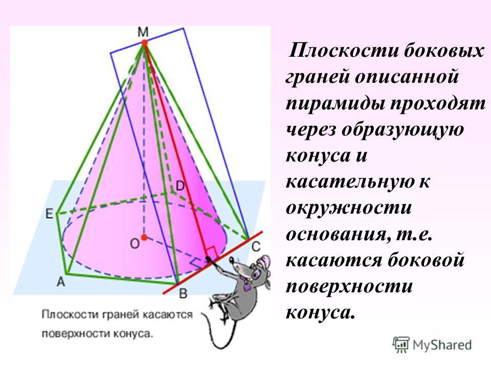 Плоскости боковых граней описанной пирамиды проходят через образующую конуса и касательную к окружности основания, т.е. касаются боковой поверхности конуса.