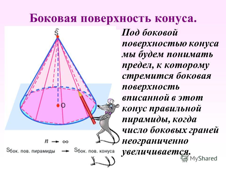 Боковая поверхность конуса. П од боковой поверхностью конуса мы будем понимать предел, к которому стремится боковая поверхность вписанной в этот конус правильной пирамиды, когда число боковых граней неограниченно увеличивается.