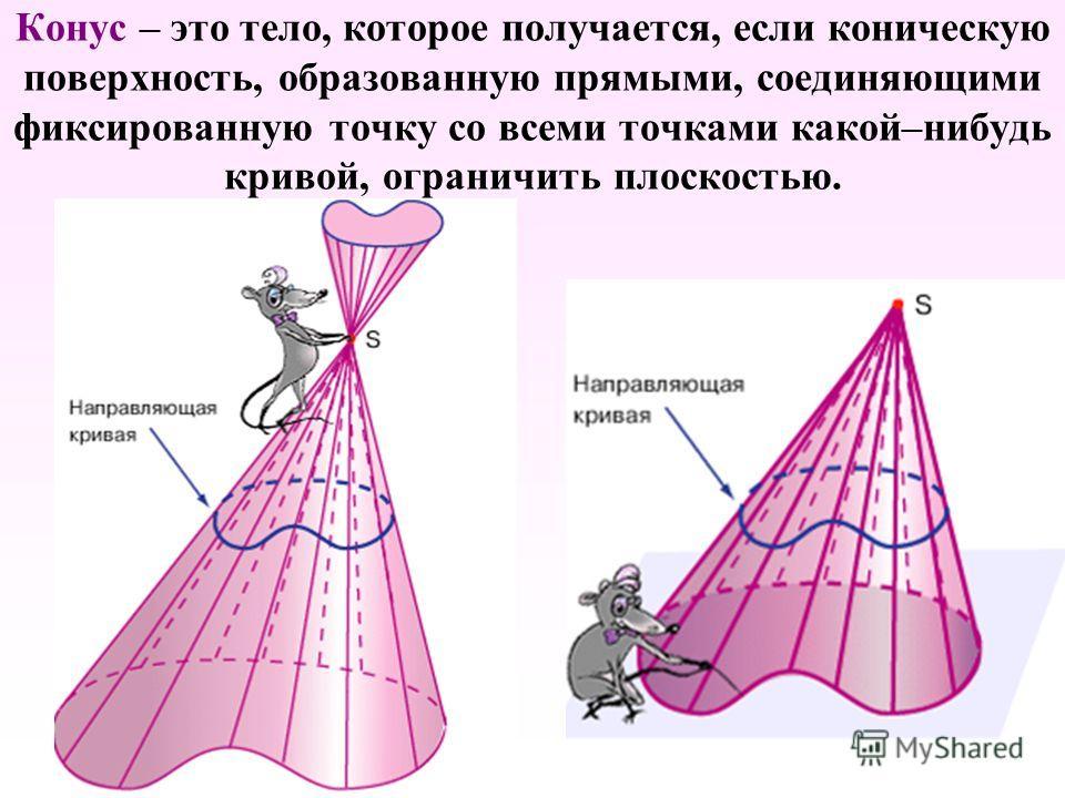 Конус – это тело, которое получается, если коническую поверхность, образованную прямыми, соединяющими фиксированную точку со всеми точками какой–нибудь кривой, ограничить плоскостью.