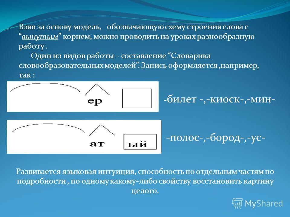 Взяв за основу модель, обозначающую схему строения слова свынутым корнем, можно проводить на уроках разнообразную работу. Один из видов работы – составление Словарика словообразовательных моделей. Запись оформляется,например, так : - билет -,-киоск-,