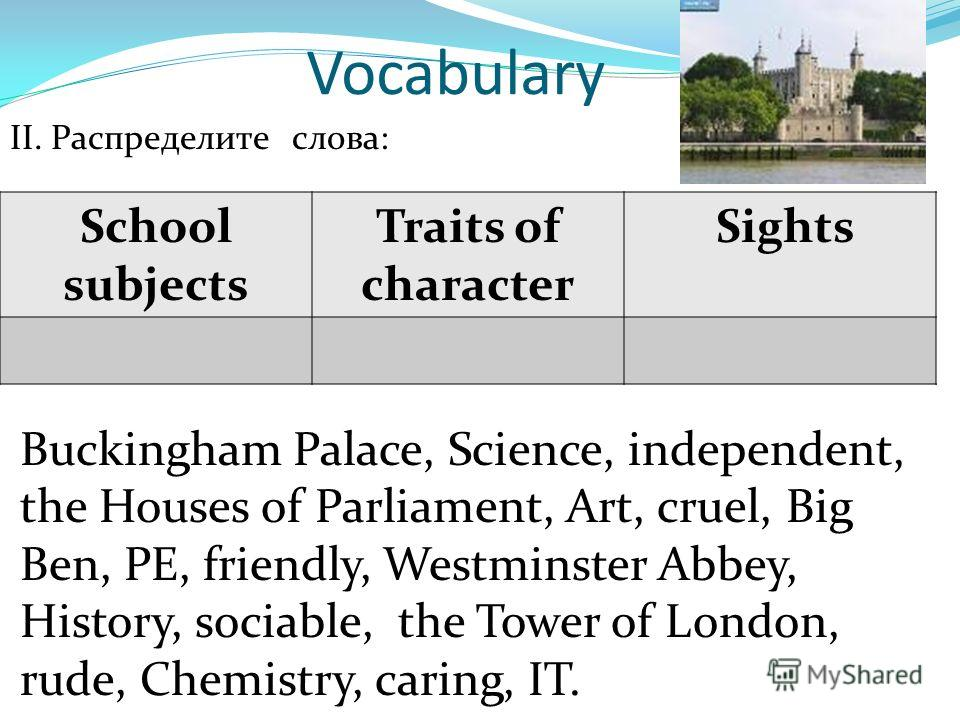 Vocabulary II. Распределите слова: Buckingham Palace, Science, independent, the Houses of Parliament, Art, cruel, Big Ben, PE, friendly, Westminster Abbey, History, sociable, the Tower of London, rude, Chemistry, caring, IT. School subjects Traits of