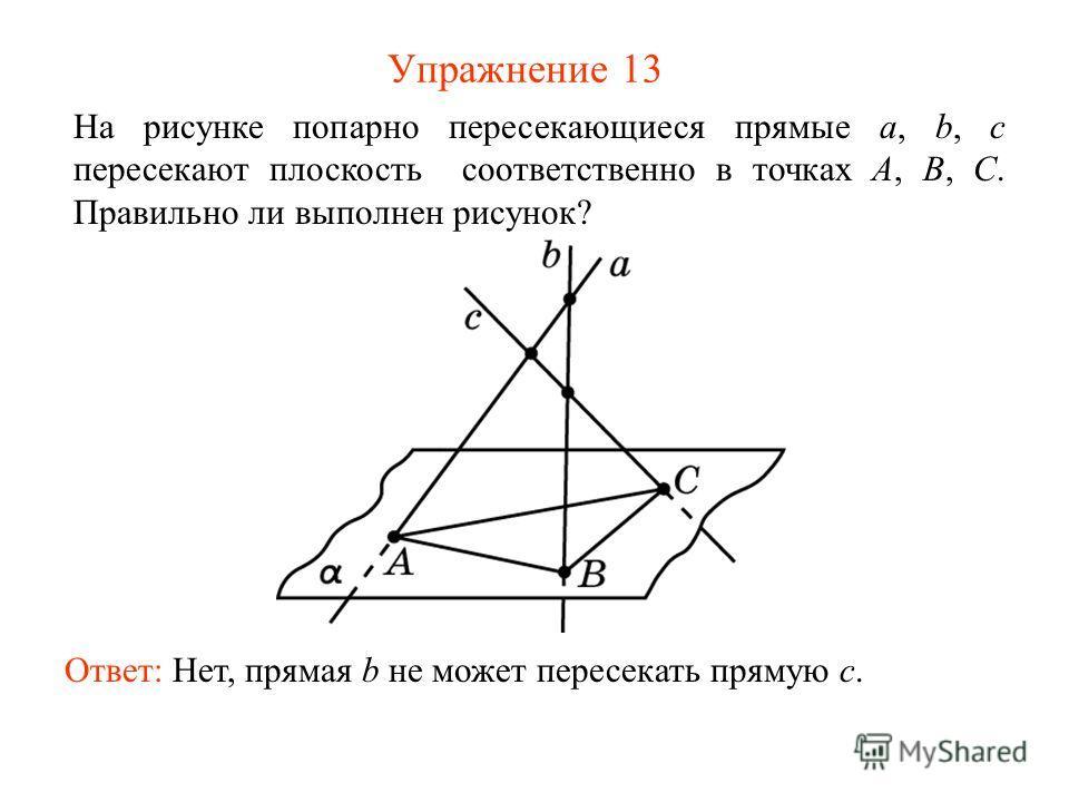 Упражнение 13 Ответ: Нет, прямая b не может пересекать прямую c. На рисунке попарно пересекающиеся прямые a, b, c пересекают плоскость соответственно в точках A, B, C. Правильно ли выполнен рисунок?