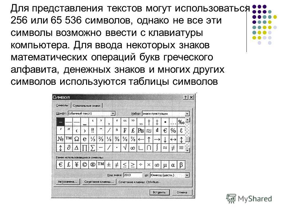 Для представления текстов могут использоваться 256 или 65 536 символов, однако не все эти символы возможно ввести с клавиатуры компьютера. Для ввода некоторых знаков математических операций букв греческого алфавита, денежных знаков и многих других си