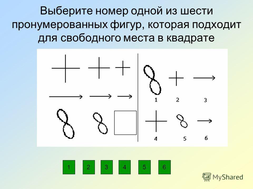 Выберите номер одной из шести пронумерованных фигур, которая подходит для свободного места в квадрате 234561