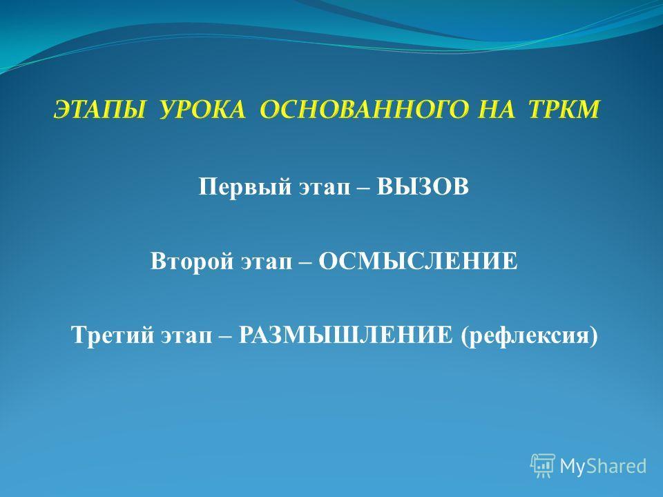 Первый этап – ВЫЗОВ Второй этап – ОСМЫСЛЕНИЕ Третий этап – РАЗМЫШЛЕНИЕ (рефлексия)