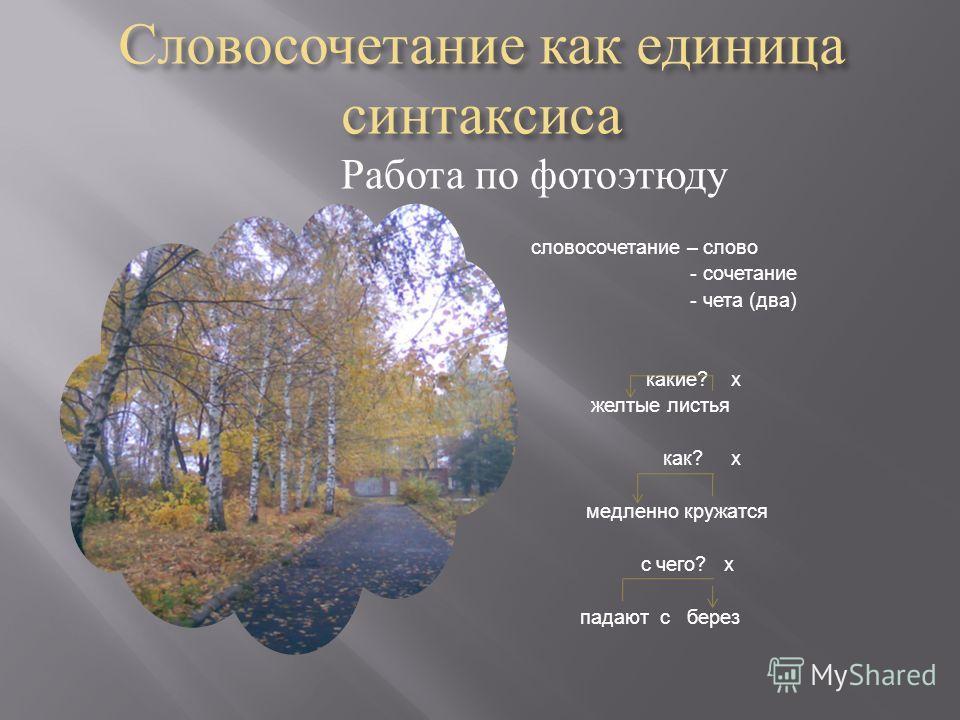 Словосочетание как единица синтаксиса Работа по фотоэтюду словосочетание – слово - сочетание - чета ( два ) какие ? х желтые листья как ? х медленно кружатся с чего ? х падают с берез