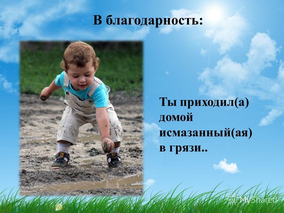 В благодарность: Ты приходил(а) домой исмазанный(ая) в грязи..