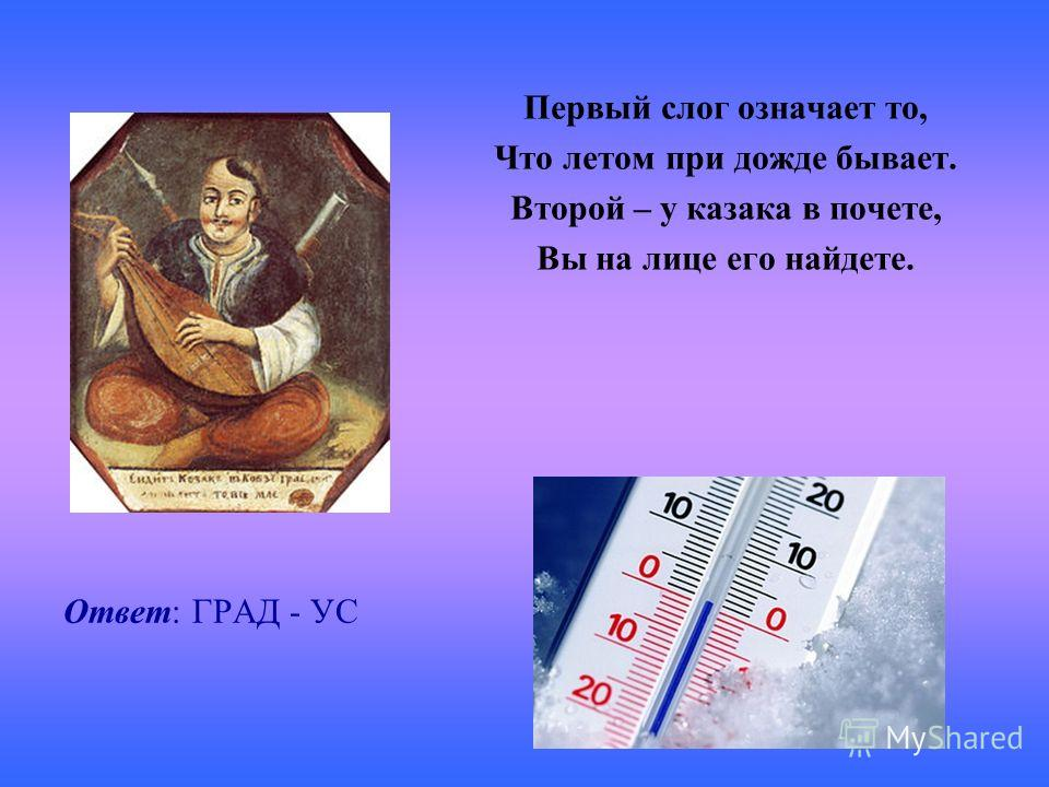 Ответ: ГРАД - УС Первый слог означает то, Что летом при дожде бывает. Второй – у казака в почете, Вы на лице его найдете.