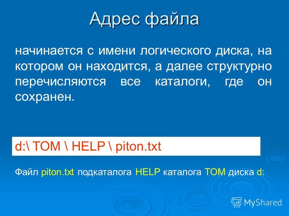 Адрес файла начинается с имени логического диска, на котором он находится, а далее структурно перечисляются все каталоги, где он сохранен. d:\ TOM \ HELP \ piton.txt Файл piton.txt подкаталога HELP каталога TOM диска d: