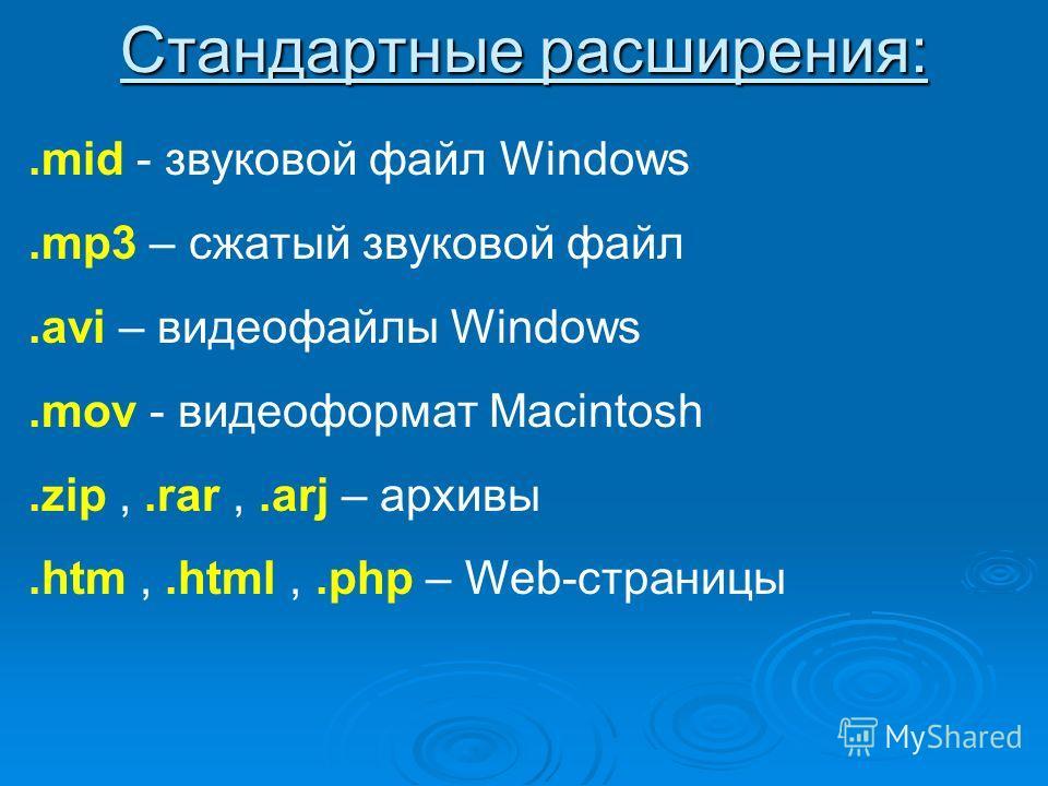 Стандартные расширения:.mid - звуковой файл Windows.mp3 – сжатый звуковой файл.avi – видеофайлы Windows.mov - видеоформат Macintosh.zip,.rar,.arj – архивы.htm,.html,.php – Web-страницы