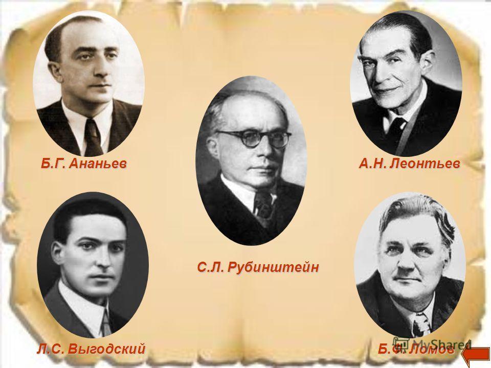 Б.Г. Ананьев Л.С. Выгодский С.Л. Рубинштейн А.Н. Леонтьев Б.Ф. Ломов