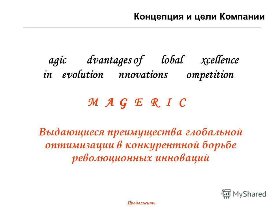 Magic Advantages of Global Excellence in Revolution Innovations Competition M A G E R I C MA GE RI C Выдающиеся преимущества глобальной оптимизации в конкурентной борьбе революционных инноваций Концепция и цели Компании Продолжить