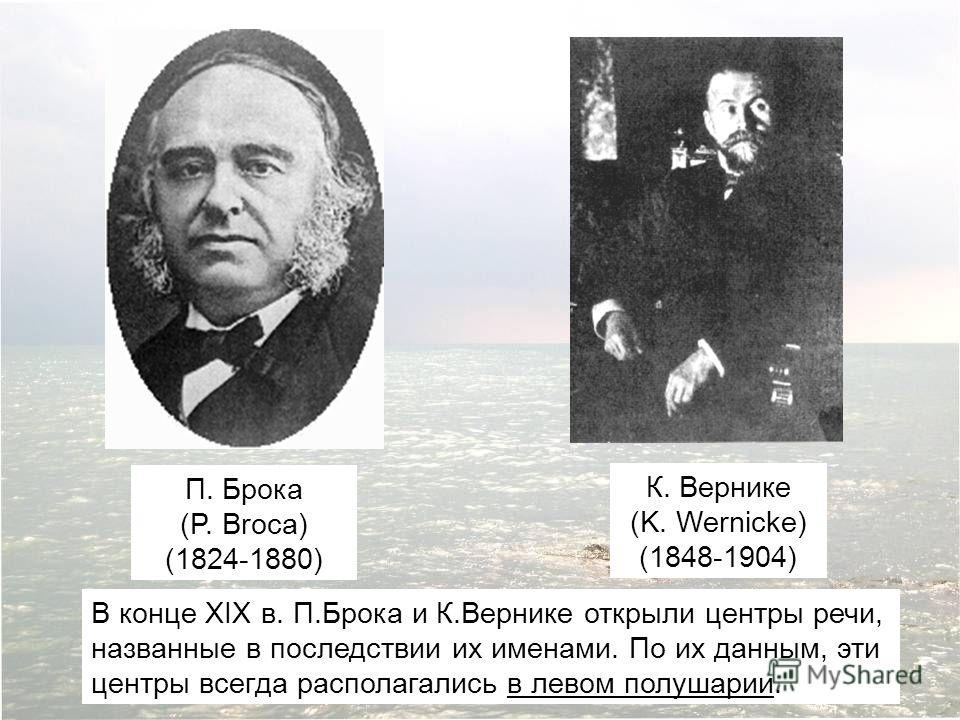 П. Брока (P. Broca) (1824-1880) К. Вернике (K. Wernicke) (1848-1904) В конце XIX в. П.Брока и К.Вернике открыли центры речи, названные в последствии их именами. По их данным, эти центры всегда располагались в левом полушарии.
