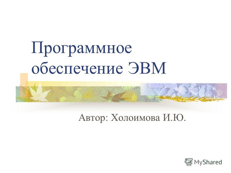 Программное обеспечение ЭВМ Автор: Холоимова И.Ю.