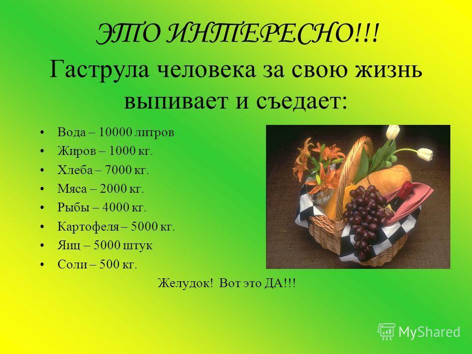 ЭТО ИНТЕРЕСНО!!! Гаструла человека за свою жизнь выпивает и съедает: Вода – 10000 литров Жиров – 1000 кг. Хлеба – 7000 кг. Мяса – 2000 кг. Рыбы – 4000 кг. Картофеля – 5000 кг. Яиц – 5000 штук Соли – 500 кг. Желудок! Вот это ДА!!!
