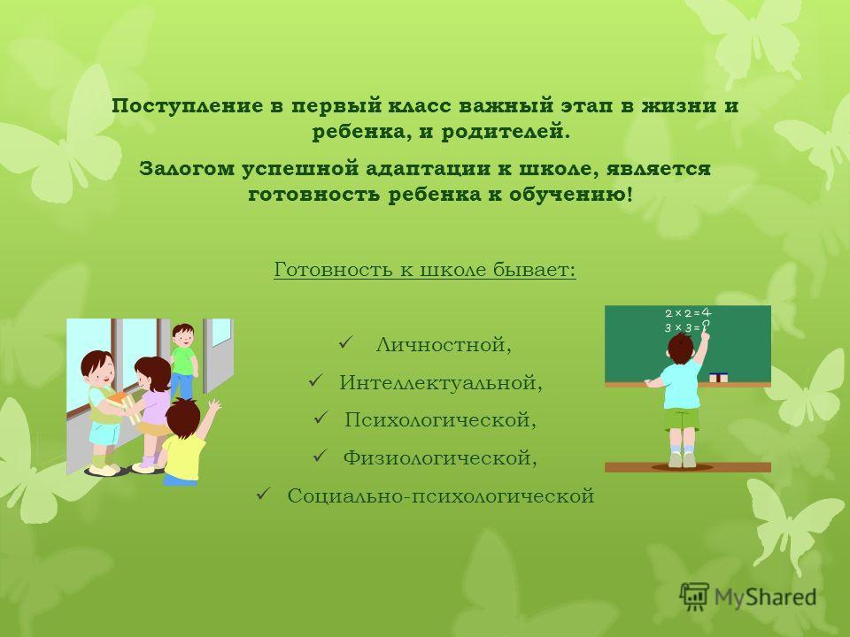Поступление в первый класс важный этап в жизни и ребенка, и родителей. Залогом успешной адаптации к школе, является готовность ребенка к обучению! Готовность к школе бывает: Личностной, Интеллектуальной, Психологической, Физиологической, Социально-пс